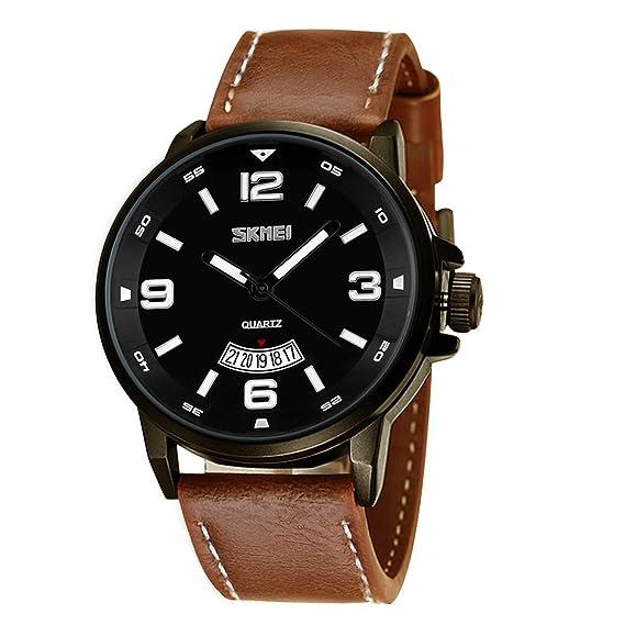 Reloj de pulsera para hombre, de movimiento de cuarzo, analógico, de estilo formal e informal, moderno. Reloj con correa clásica de cuero y calendario.