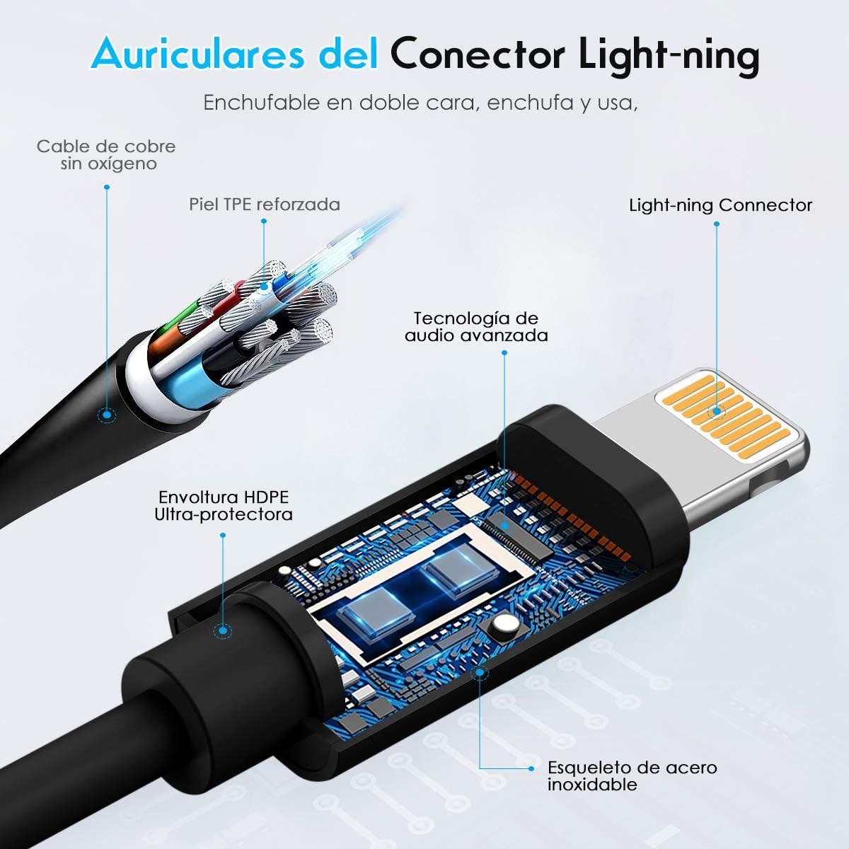 Auriculares para iPhone Auriculares con Cable Auriculares Proporcionan Control de micr/ófono y Volumen Compatible con iPhone 11//11Pro//Max//XS//Max//XR//X//8//Plus//7 para iOS 10//11//12 Blanco