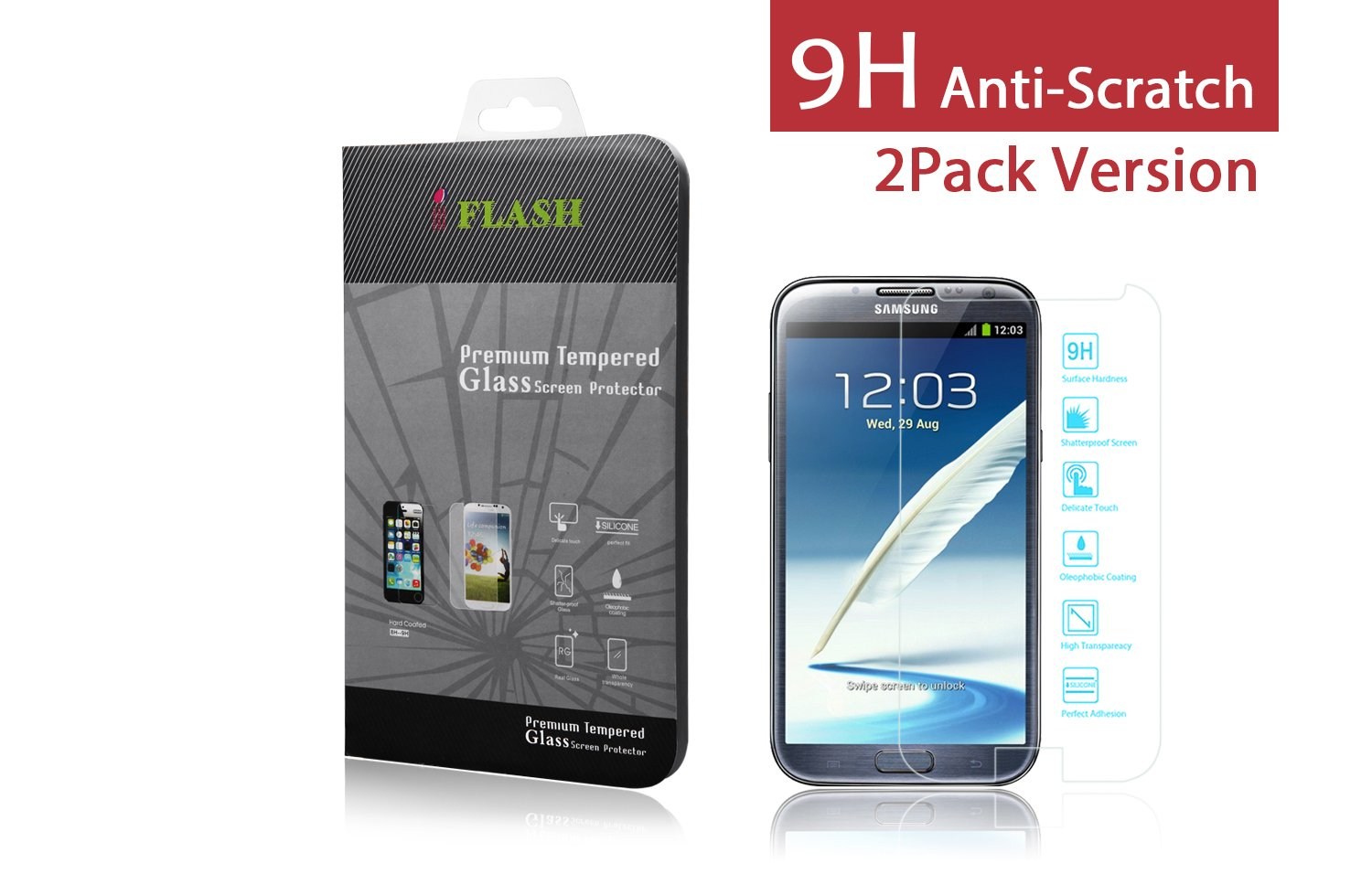 iFlash® 2 Pack of Premium Tempered Glass Screen Protector For Samsung Galaxy Note 2 / Note II / N7100 - Protect Your Screen from Scratches and Bubble Free - Maximize Your Resale Value - 99.99% Clarity and Touchscreen Accuracy (2Pack, Retail Package)