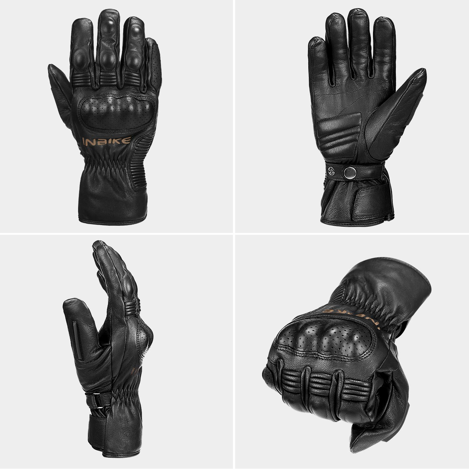 INBIKE Winter Leather Motorcycle Gloves Waterproof Warm Motorbike ATV Biking Riding for Men Hard Knuckle Protection Goatskin
