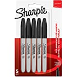 Sharpie Permanent Markers, Fine Tip, Black, 5 Pack