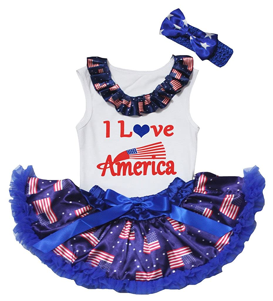CCNS0041 Petitebella 4th July Outfit White Shirt Blue Flags Baby Skirt Set 3-12m My 1st Birthday