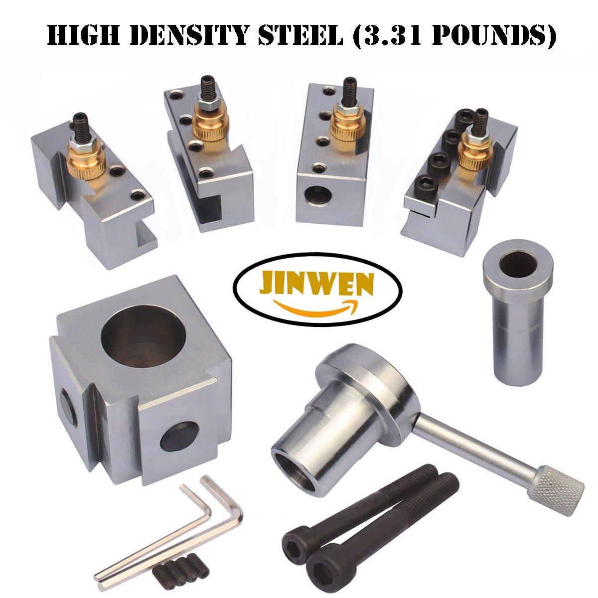 Jinwen 120018 Tooling Package Mini Lathe Quick Change Tool Post & Holders Multifid Tool Holder (Steel)
