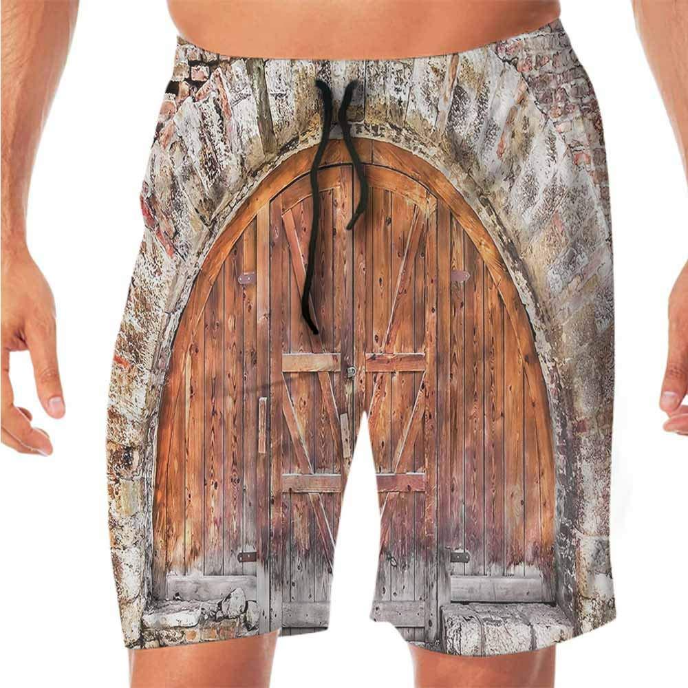 ScottDecor Quick-Dry Beach Running Shorts Rustic,Artistic Stone House Garden Swim Shorts Men