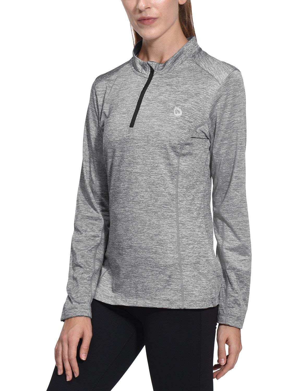 Baleaf Women's Thermal Running Shirts Long Sleeve 1/4 Zip Pullover Grey XS