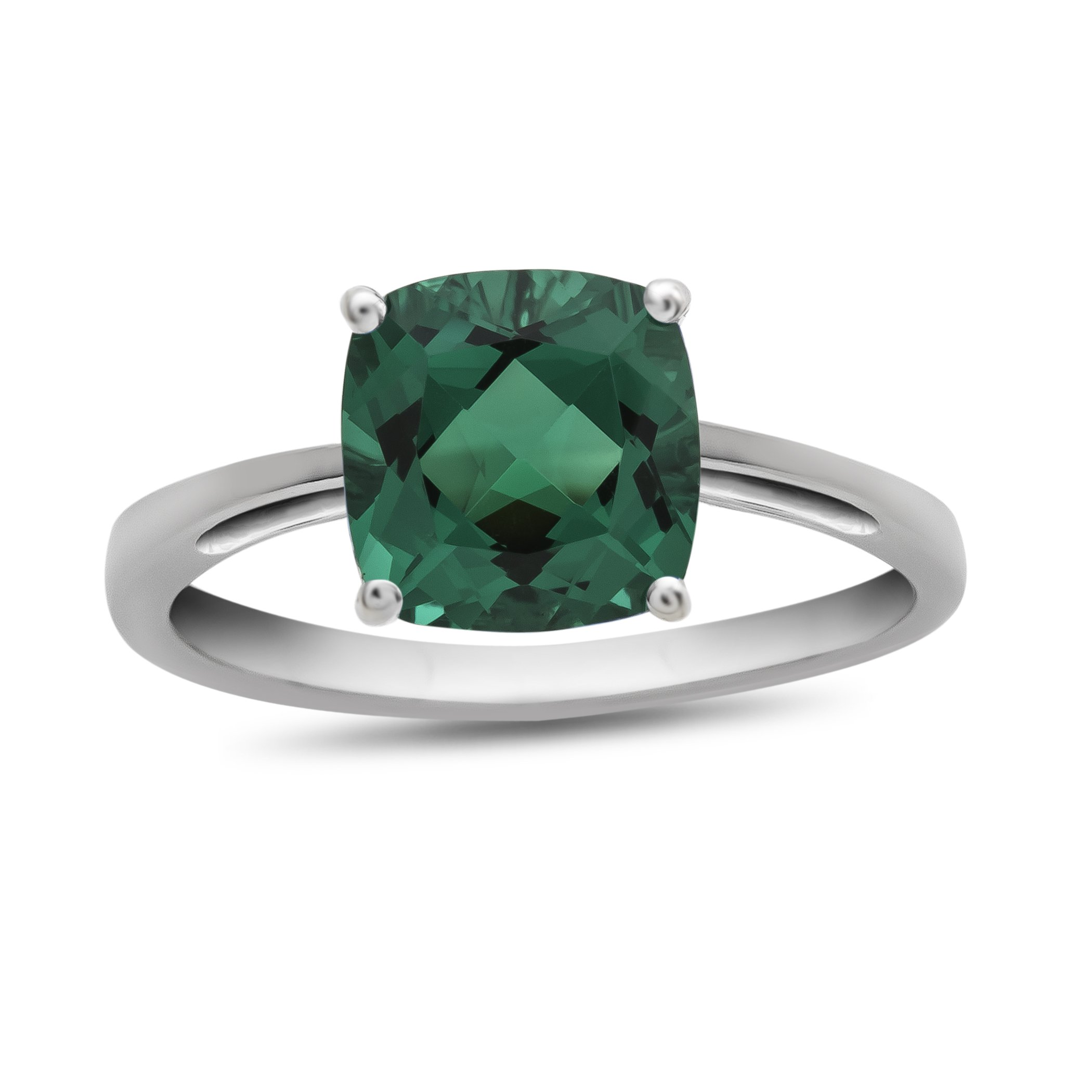 10k White Gold 7mm Cushion Simulated Emerald Ring Size 8