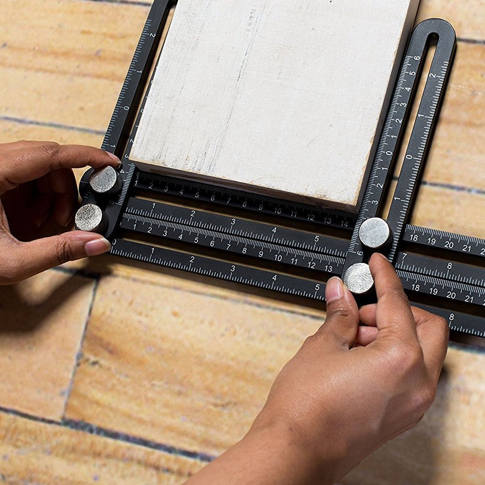 Zyan Heavy Duty Template Tool - Ultimate Multi Angle Ruler - for Measuring Angles - Made of Premium Metal Alloy- Adjustable Knobs for Precise Measurement- w/Instruction Manual by Zyan (Image #2)