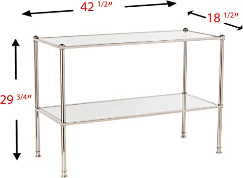 Paschall Console Table – 2 Tier Tempered Glass – Metallic Silver Finish Metal Frame