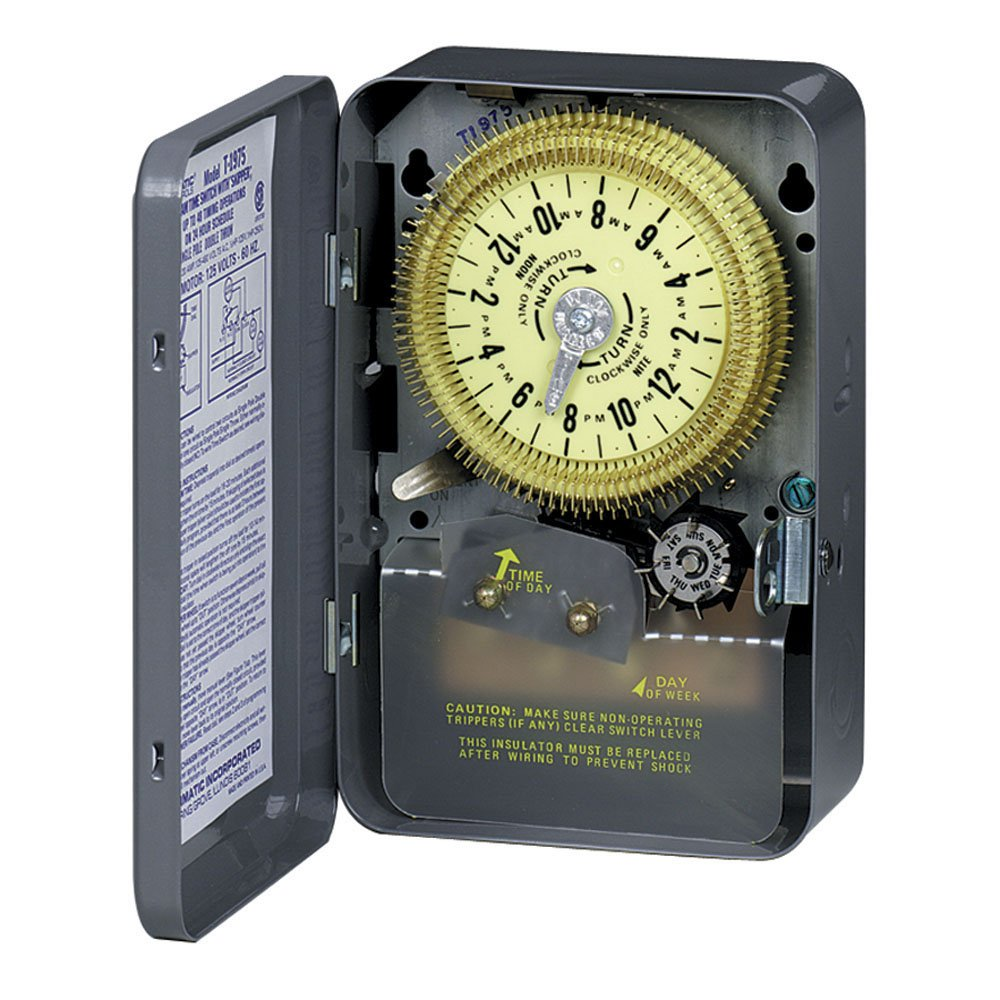 Intermatic T1975 SPDT 24 Hour 125-Volt Time Switch with Type 1 Indoor Steel Enclosure and Skipper Wheel