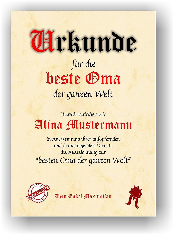 Urkunde Für Die Beste Oma Der Ganzen Welt Geschenkurkunde Für Die Großmutter Zum Geburtstag Weihnachten Muttertag