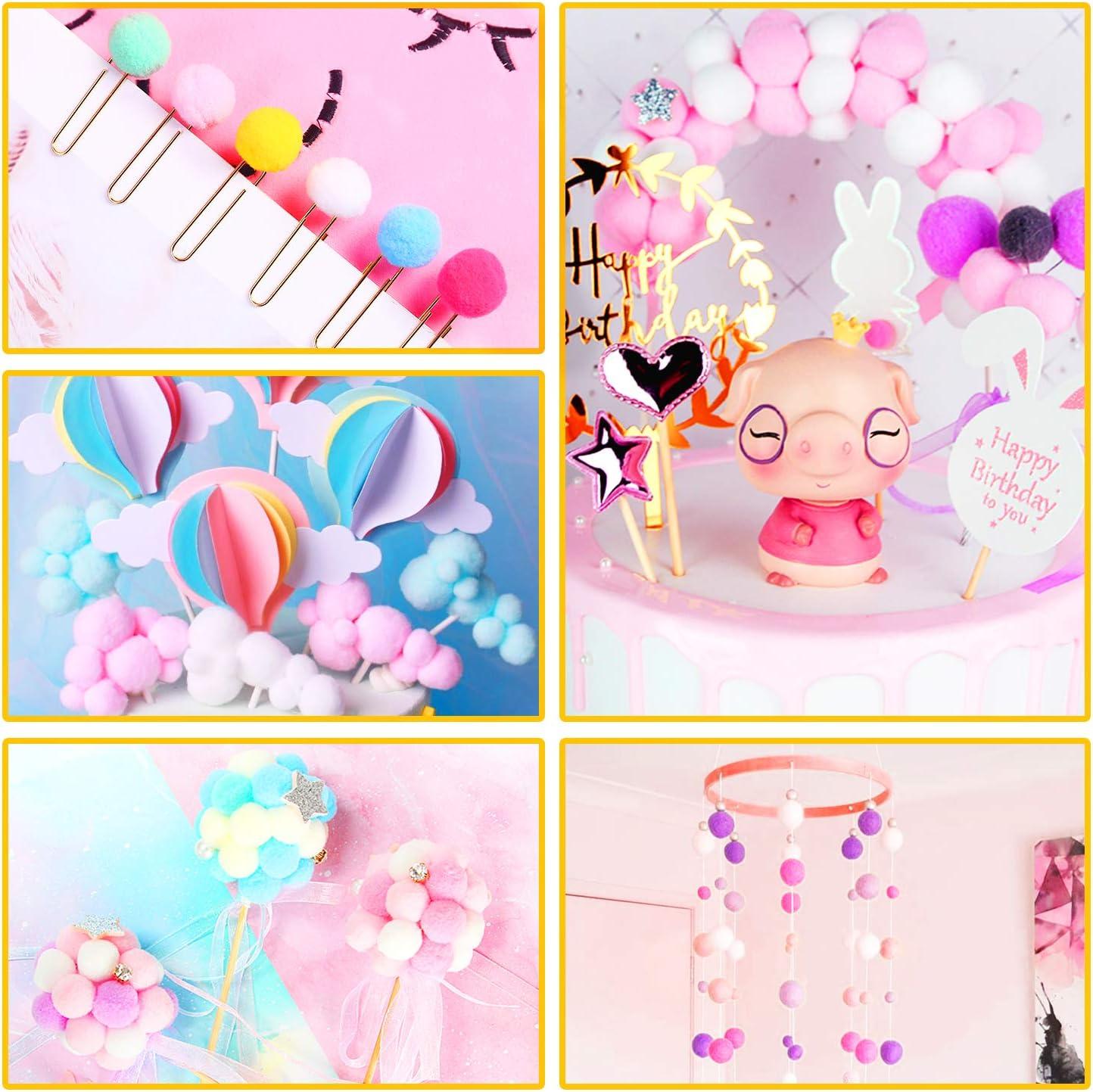 Pompones de Colores 1200pcs- 1-1.5cm Pelotas de Peluche mullidas para Divertidas Manualidades Creativas Pompones de Pompon Gifort Pompons