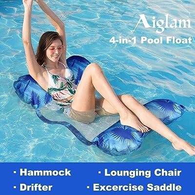 Aiglam Hamaca Flotante, Piscina Colchón Hinchable con Almohada Cozy, Versátil Flotador de Verano Colchonetas Inflable Hamaca de Agua Pool Lounge Float para Adultos y Niños