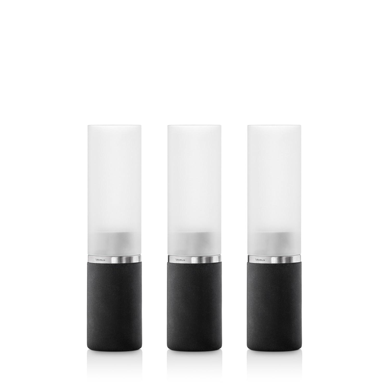 Blomus 65397 Faro Set de photophore Acier Inoxydable/Verre/Polystone Noir/Blanc 5 x 5 x 21 cm
