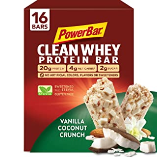PowerBar Clean Whey Bar, Vanilla Coconut Crunch, 2.12 oz Bar, (16 Count)