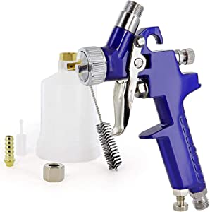 HVLP Gravity Feed Detail Gun with Cup Filter 1.0mm Nozel Mini Air Spray Car Body Detail Touch Up Coat Paint Sprayer Spot Repair Painting Tool for Furniture Air Spray Gun - by RamPro