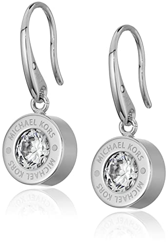 7ad49c68ee10 Amazon.com  Michael Kors Logo Silver-Tone and Crystal Drop Earrings  Jewelry
