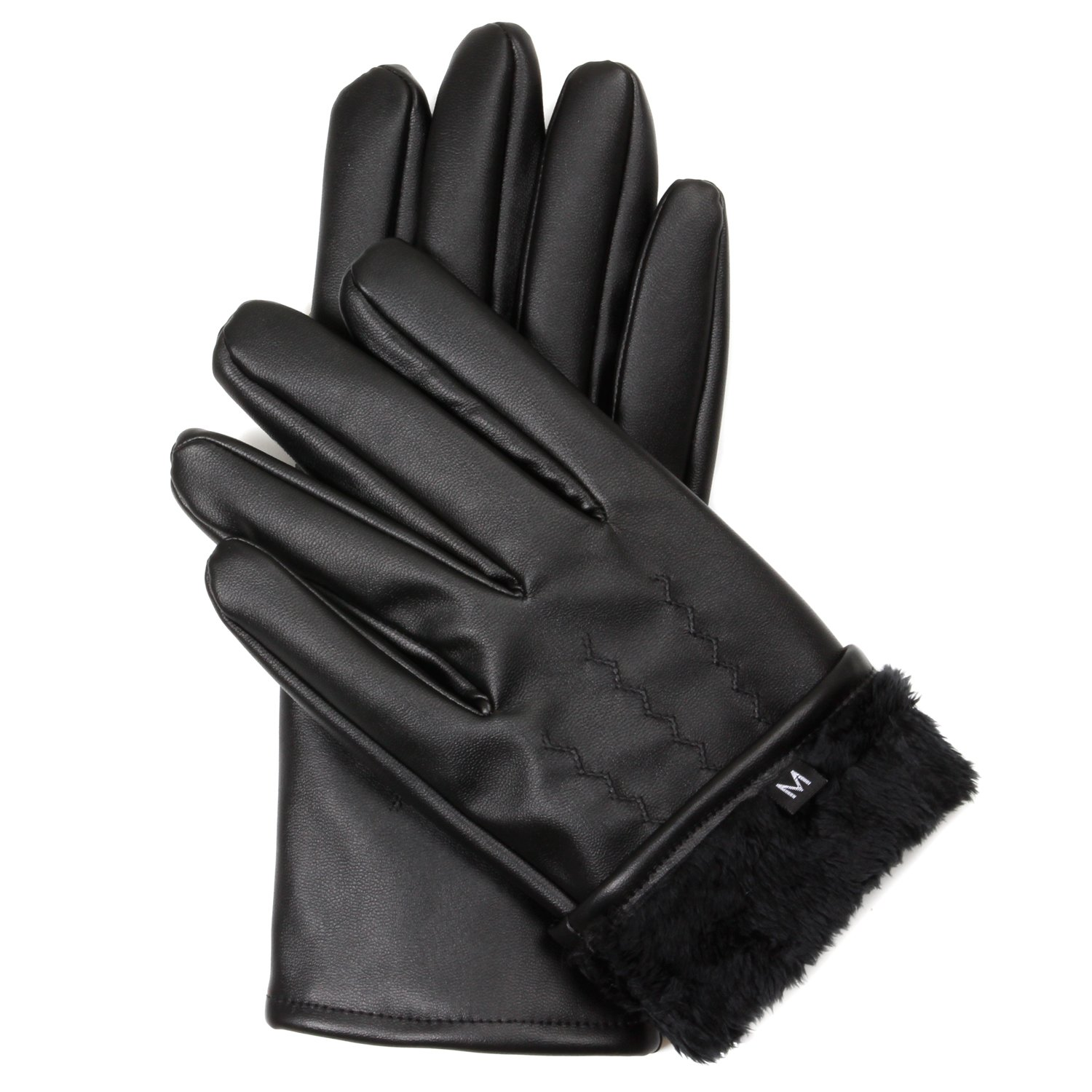 Men's Fur Lined Faux Leather Gloves with Touchscreen Technology