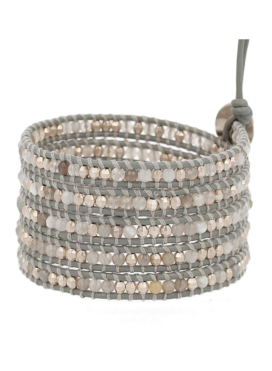 Chan Luu Grey Botswana Agate Mix Stones Leather Wrap Bracelet