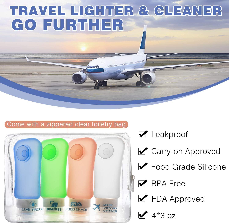 FDA Aprobado, 4 Pzs - 89ml - 3.1oz Crema de Ba/ño Libre de BPA MoKo Botella de Viaje Anti-Fugas /& Rellenable//Compresible Silicona Travel Bottles Set para Champ/ú B/álsamo Loci/ón
