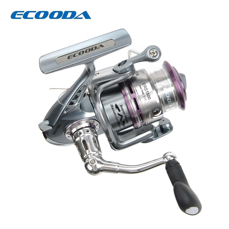 Ecooda Royal Sea Spinning Fishing Reels Metal Body Two Aluminum Spools Carbon Fiber Drag Great Open Face Reel 1500 2000 3000