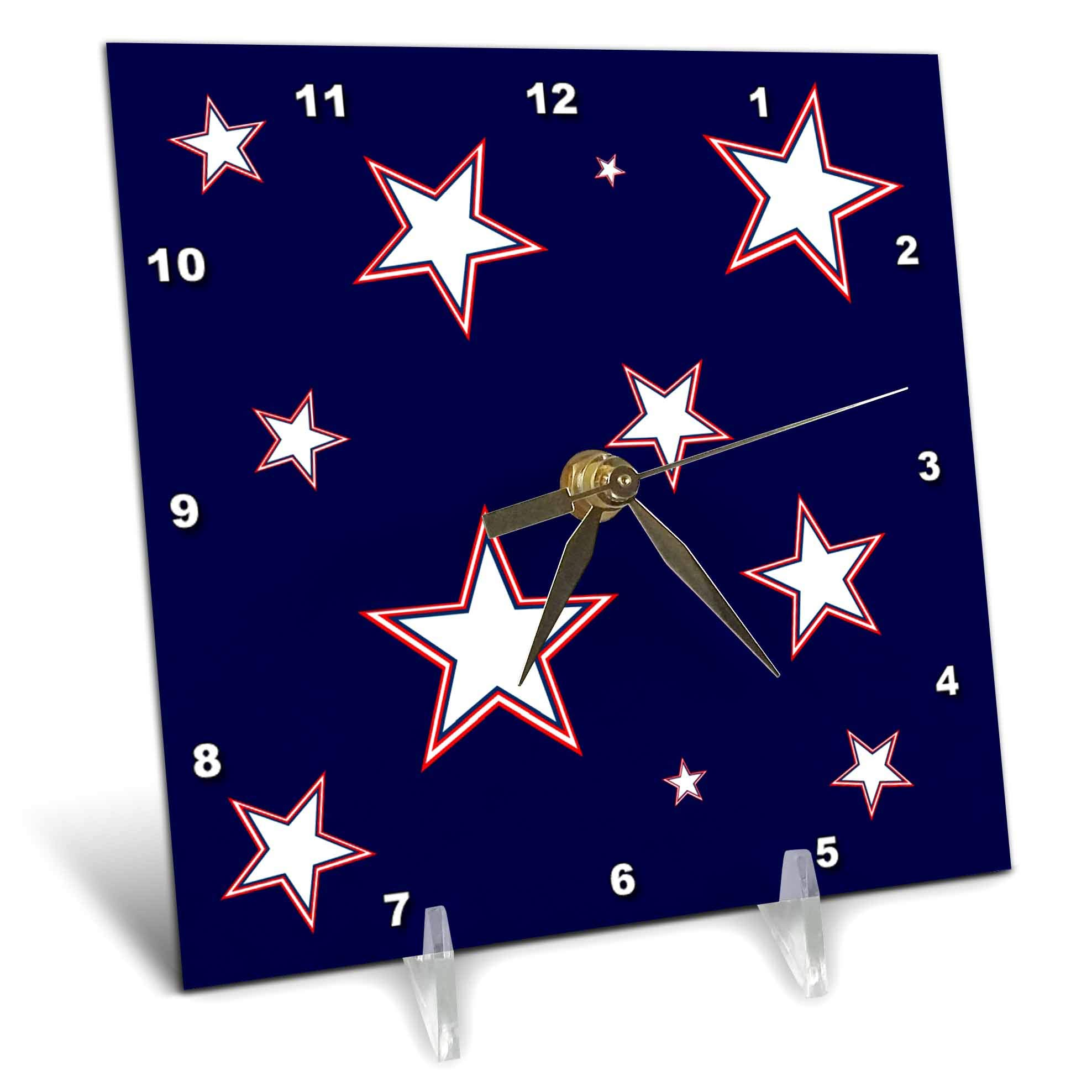 3dRose Alexis Design - America - Stars Of Freedom. Three color stars against the navy blue background - 6x6 Desk Clock (dc_288375_1)
