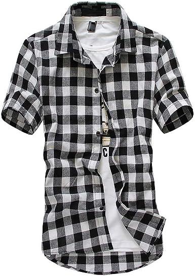 waotier Camisa A Cuadros De CelosíA De Manga Corta para Hombre Blusa con Cuello Redondo De Gran TamañO Solapa Casual A Cuadros para Hombre: Amazon.es: Ropa y accesorios