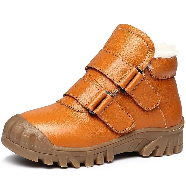 Baby Kids Boy Mädchen PU Leder Schnee Stiefel Fell gefüttert Winter warme Schuhe