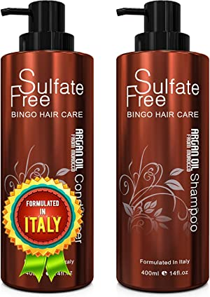 Moroccan Argan Oil Sulfate Free Shampoo and Conditioner Set - Best for Damaged, Dry, Curly or Frizzy Hair - Thickening for Fine/Thin Hair, Safe for Color-Treated, Keratin Treated Hair