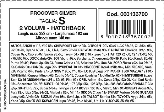 Cora Procover Silver 000136700 Wasserdichte Auto Abdeckplane Größe S Auto