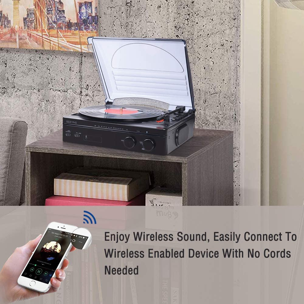 Amazon.com: Tocadiscos de vinilo con altavoces Bluetooth ...