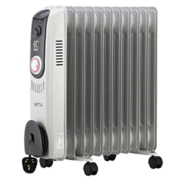ff3a60b8393 NETTA 2500W Oil Filled Electric Heater Radiator with Thermostat   24 Hour  Timer 2 Power Settings