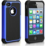Pasonomi Shockproof Bumper Armor Cover for Apple iPhone 4S/4 (Blue)