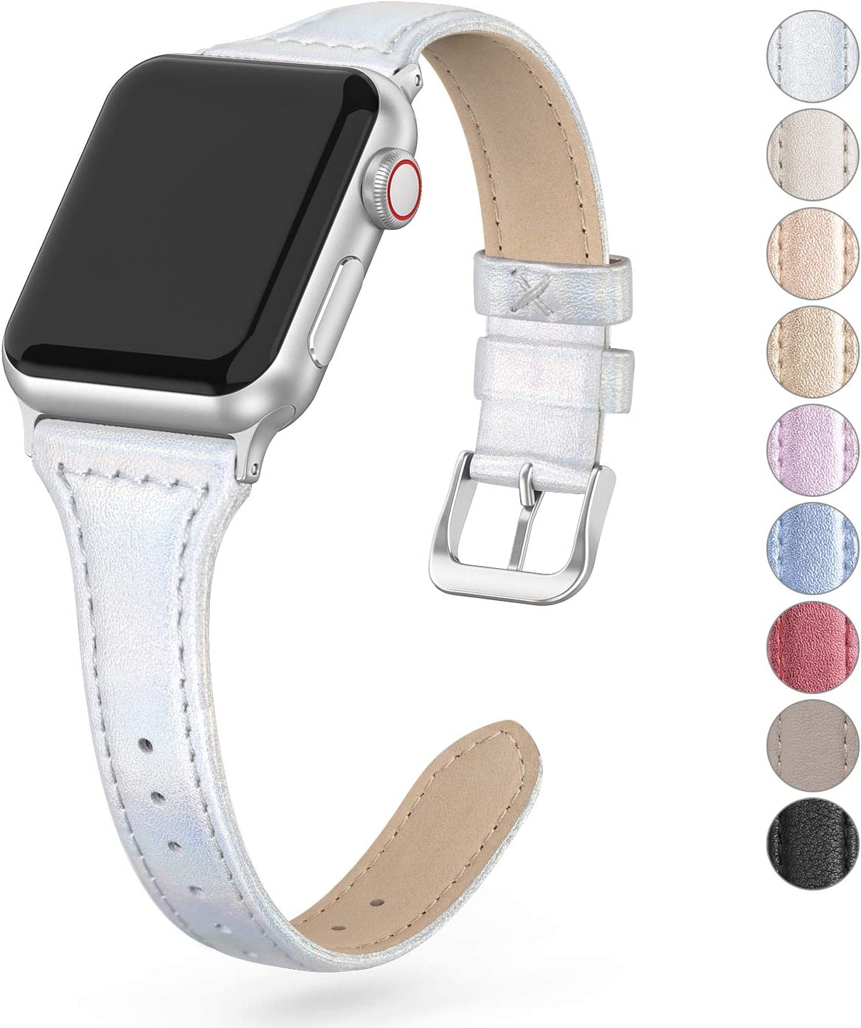 Bandiction Leather Band Compatible with Apple Watch Band 38mm Series 3 40mm Series 5, Slim Top Grain Leather Strap Women Replacement Leather Bands Compatible for iWatch Bands Series 6 SE 5 4 3 2 1