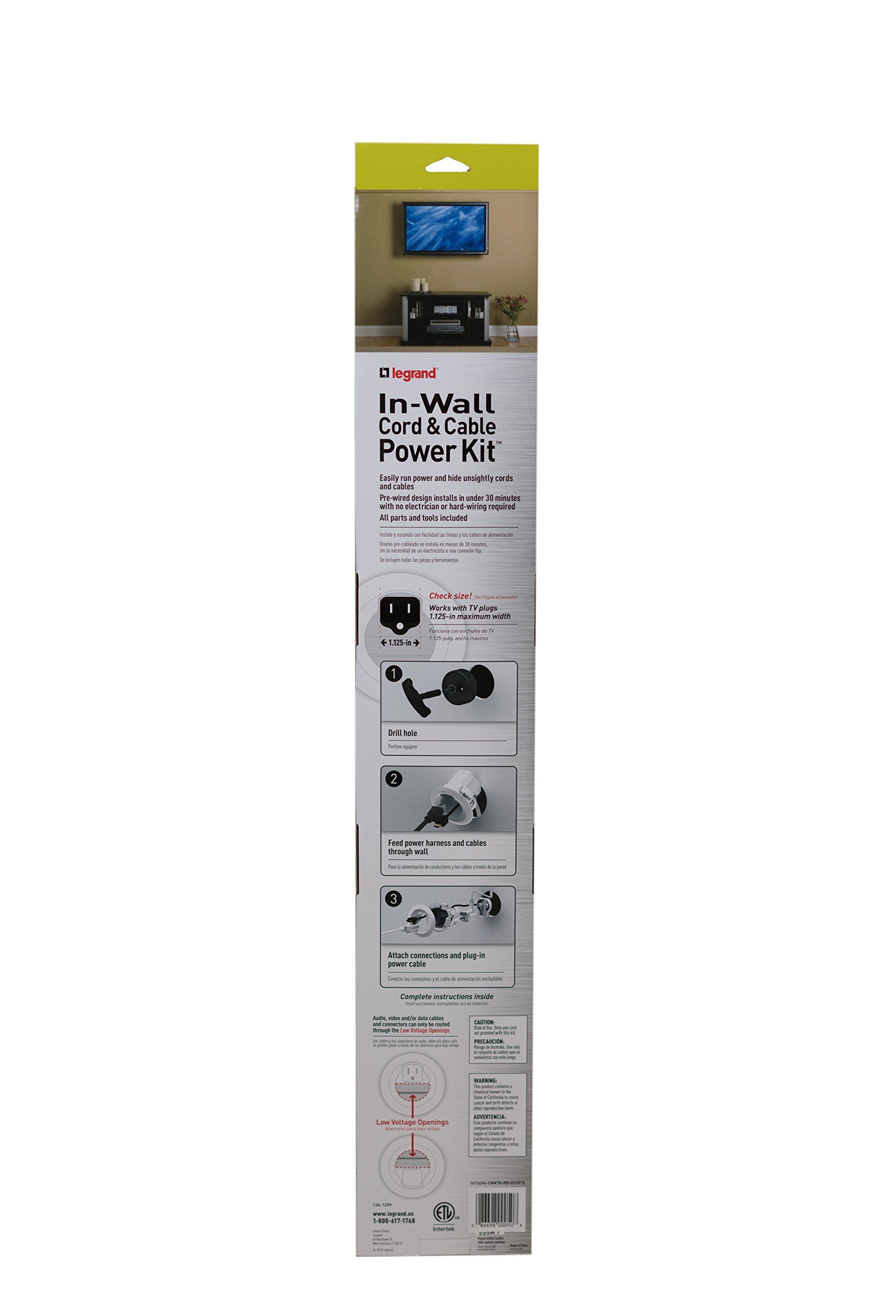 Legrand - Wiremold CMK70 Flat Screen TV Cord and Cable Power Kit, Recessed In-Wall Cable Management System with PowerConnect, White. by Wiremold (Image #4)