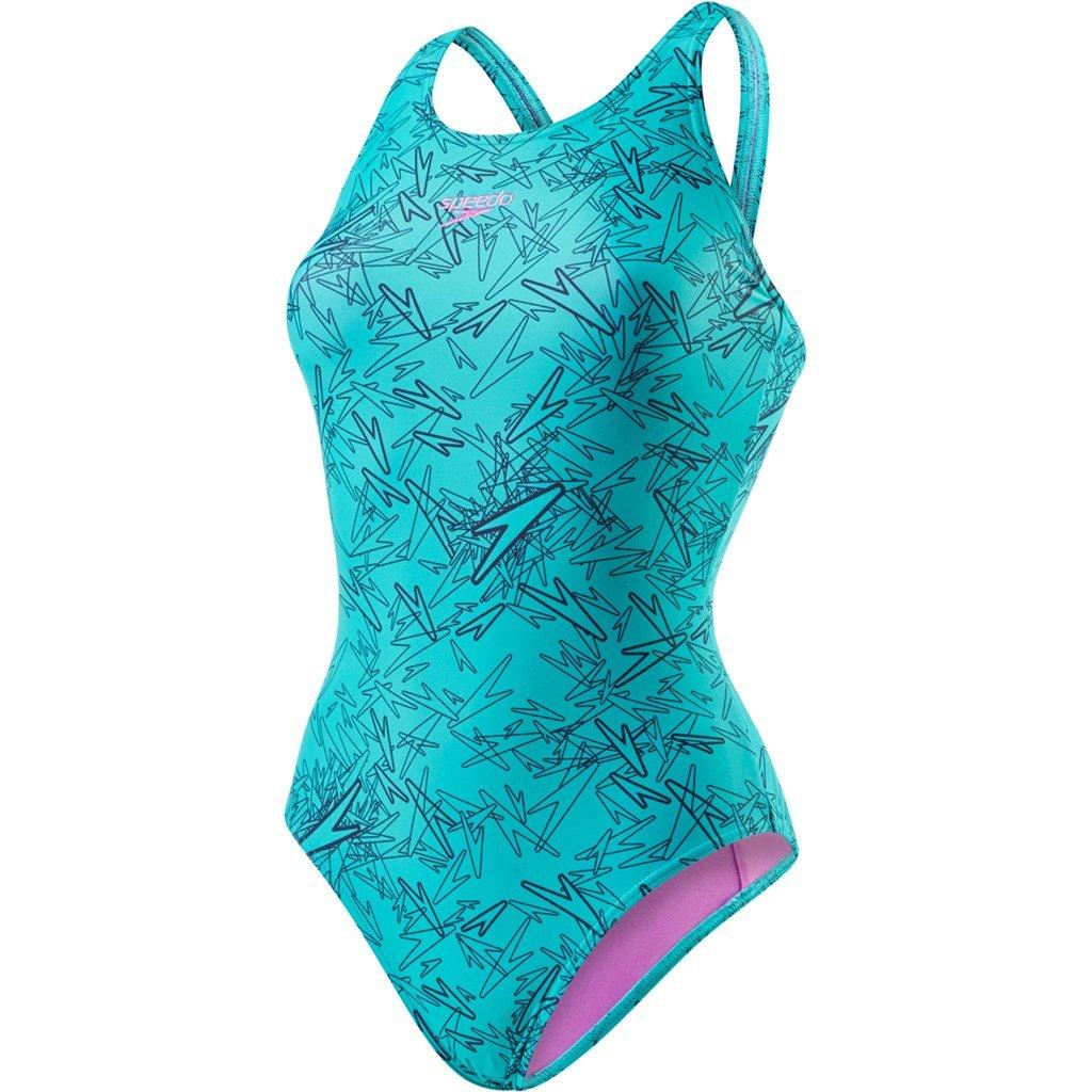 Speedo Boom Allover Muscleback Costume da Bagno Intero da Donna, Multicolore (Navy/Jade), IT: 44 (EU: 38) 8-10818B353