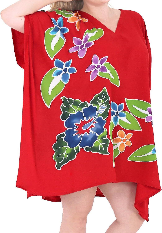 LA LEELA Femmes Blouse Maillot de Bain Taille Tunique Kimono Boh/ême Bikini Poncho Plage Cache-Maillots Robes de Plage Cover Up Taille Unique 280