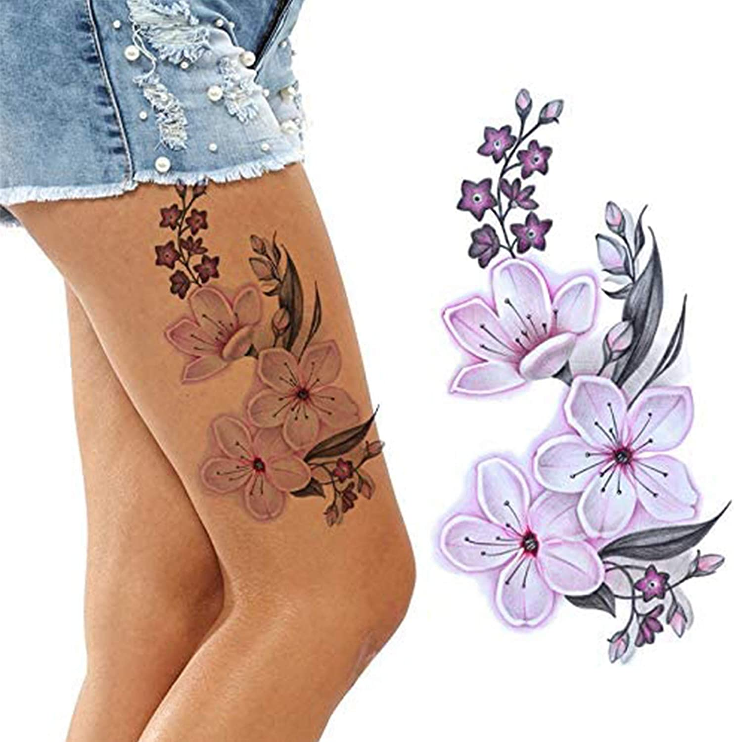 Amazon Com 2 X Sheets Of Cherry Blossom Flora Temporary Tattoos For Adult Women Kids Girls Flower Big And Small Pink White Cute Flora Sticker Arm Legs Adult Temp Tatoo On Transfer Paper