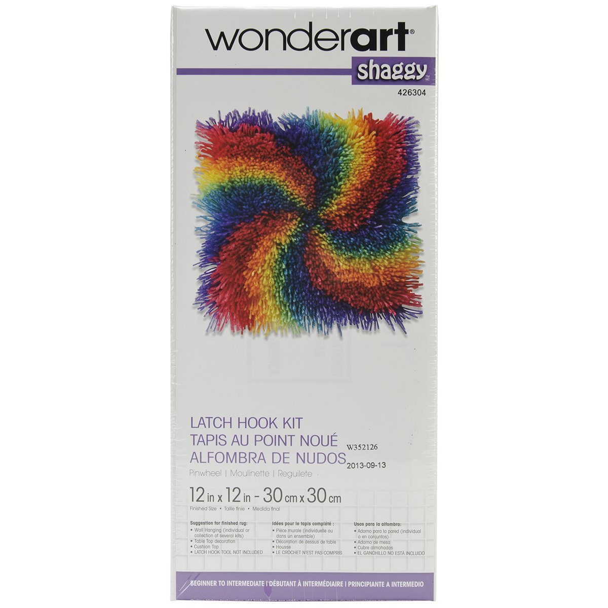 Wonderart Shaggy Flowers Latch Hook Kit, 12 X 12 12 X 12 Spinrite 426303
