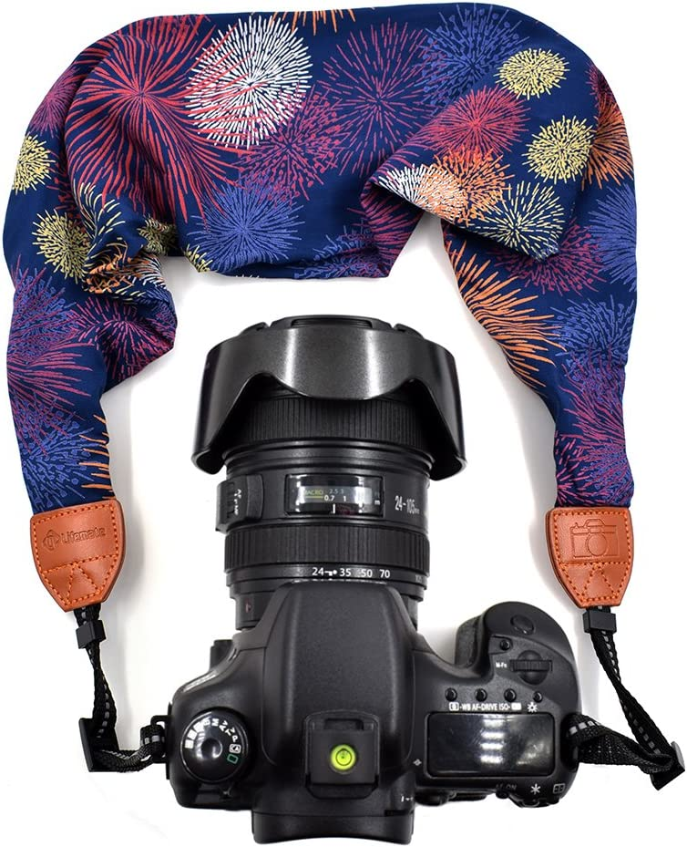 LIFEMATE Scarf Camera Strap,DSLR Camera Strap Universal Neck Strap,Fabric of Bohemia Floral Scarf Camera Strap (Colorful)