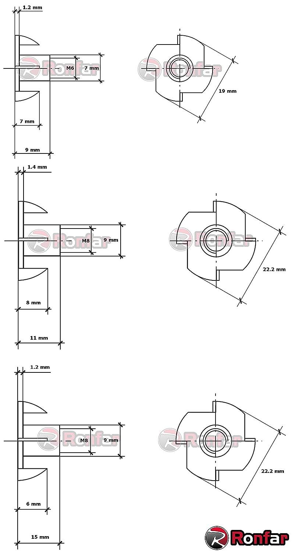 RONFAR Klauen Muttern Krallen Mutter T-Nut T-Mutter M6 x 18 mm 100 St/ück