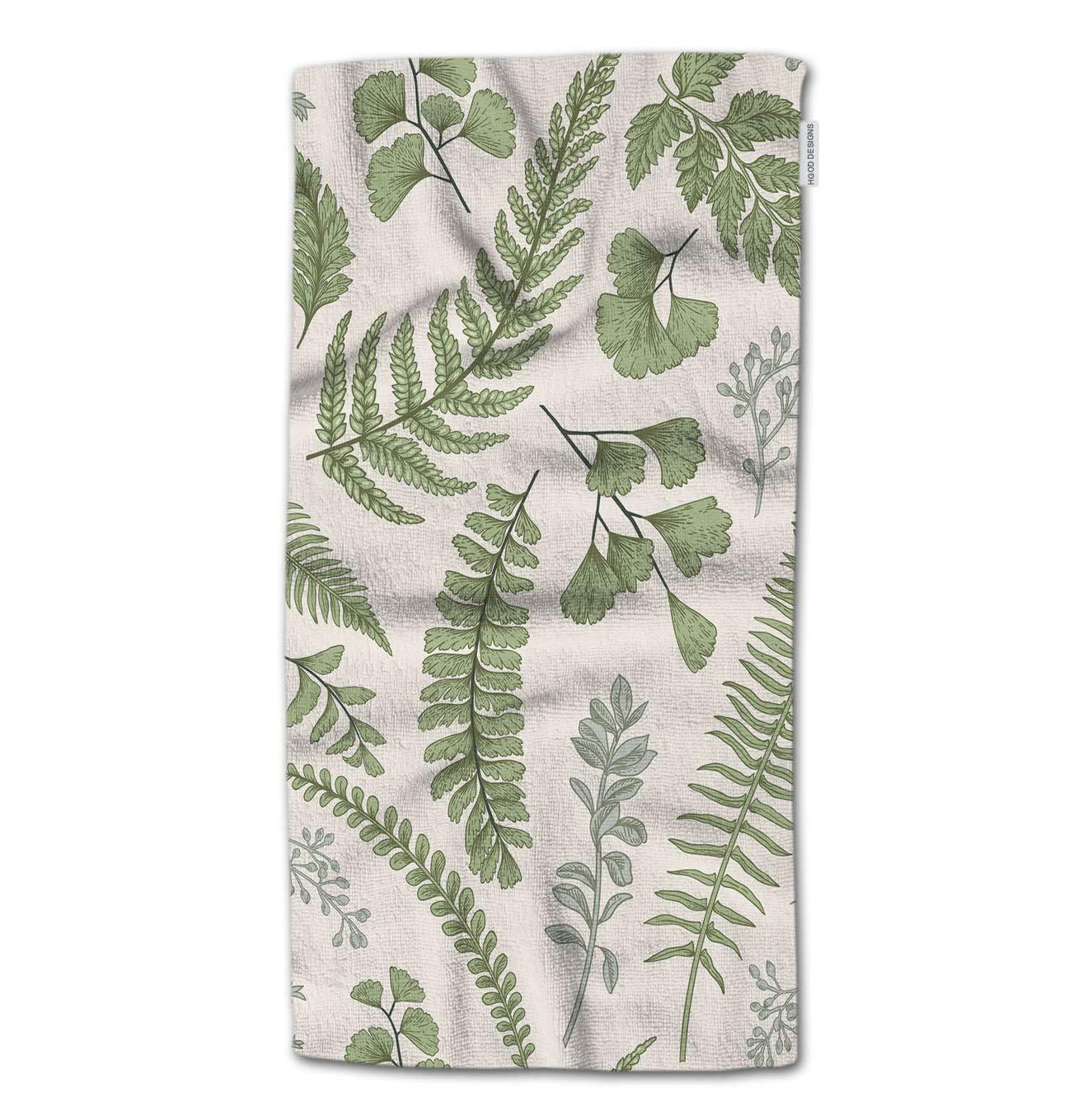 HGOD DESIGNS Bath Towel Leaves,Green Leaves and Fern Pattern Bath Towel Throw Blanket Beach Towel 64'' Lx32 W
