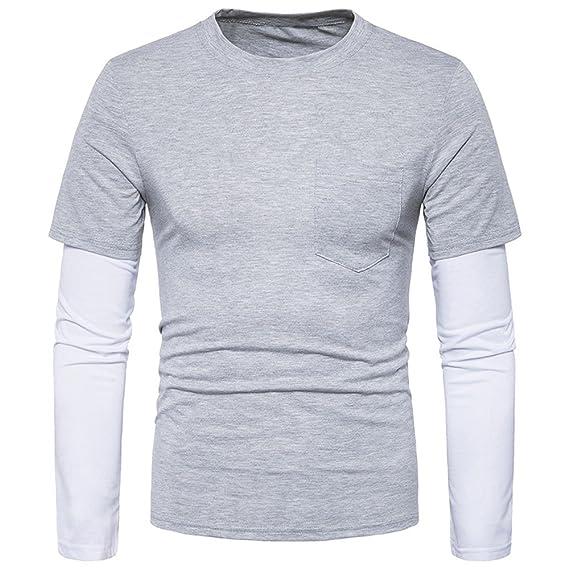 Camisa de Manga Larga Hombre, BBestseller Sudadera para de otoño,Moda para Hombre Slim Fit Camiseta Casual Camiseta de Manga Larga Camisetas Tops Blusa ...