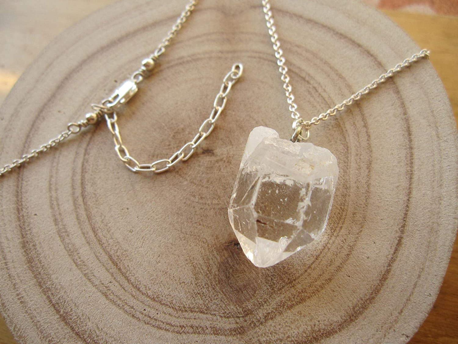 Circle Necklace Silver Chain Necklace Gothic Necklace Pendant Necklace Sterling Silver Curb Link Chain Raw Crystal Quartz Necklace