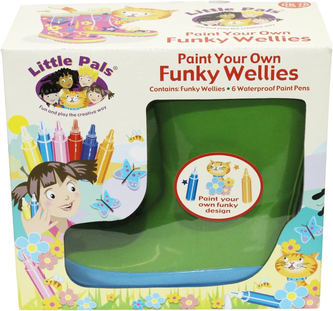 Tierra Garden 7-LP418 Little Pals Kids Paint Your Own Funky Wellies, Green with Blue Trim, Size Medium US 11.5