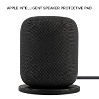 XIHAMA for Apple Speaker Base Stand.Portable Genuine Leather Anti-Slip Mat Protection Pad for Apple HomePod Speakers (Black)
