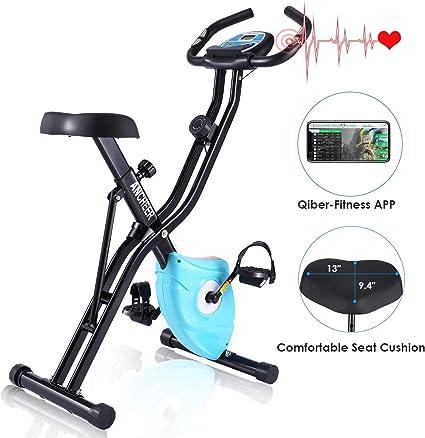 Ancheer Bicicleta Estática Plegable Bicicleta de Ejercicio 10 Niveles de Resistencia Magnética, con App, Soporte para Tableta Capacidad de Peso:120kg (Negro): Amazon.es: Deportes y aire libre