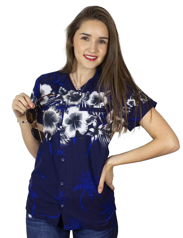 Navy bluee King Kameha Funky Hawaiian Blouse Shirt Women Shortsleeve Frontpocket HawaiianPrint Leaves Flowers Chest Border Print