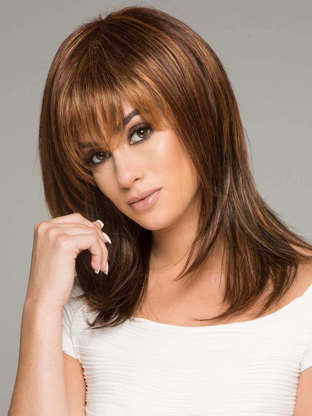 Enigma Capless Wig Color R25 GINGER BLONDE - Raquel Welch Wigs 10'' Long Synthetic Women's Blunt Bang Jagged Ends Memory Cap Base