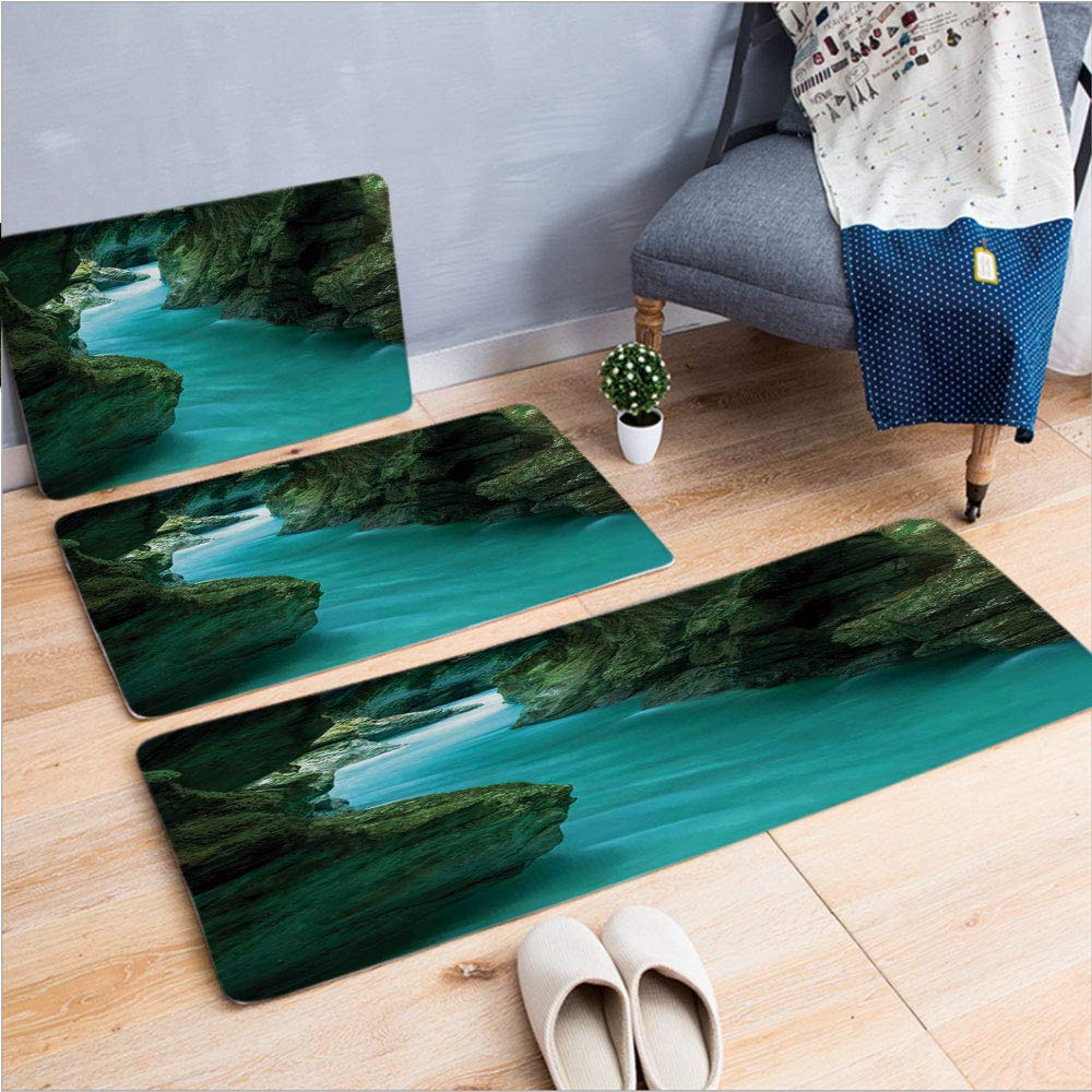 "3 Piece Non-Slip Doormat 3d print for Door mat living room kitchen absorbent kitchen mat,Water and Caves Exotic Nature Travel Picture,15.7""x23.6""by23.6""x35.4""by17.7""x53.1"",coffee table carpet window M"