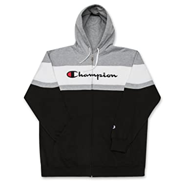 wholesale dealer e6811 e3e02 Champion Big and Tall Mens Color Block Full Zip Hoodie with Embroidered  Logo at Amazon Men s Clothing store